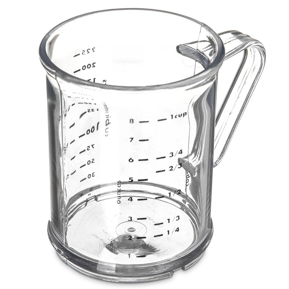 Carlisle 431507 8 oz Oval Measuring Cup w/ 7 Style Handle, Polycarbonate, Clear