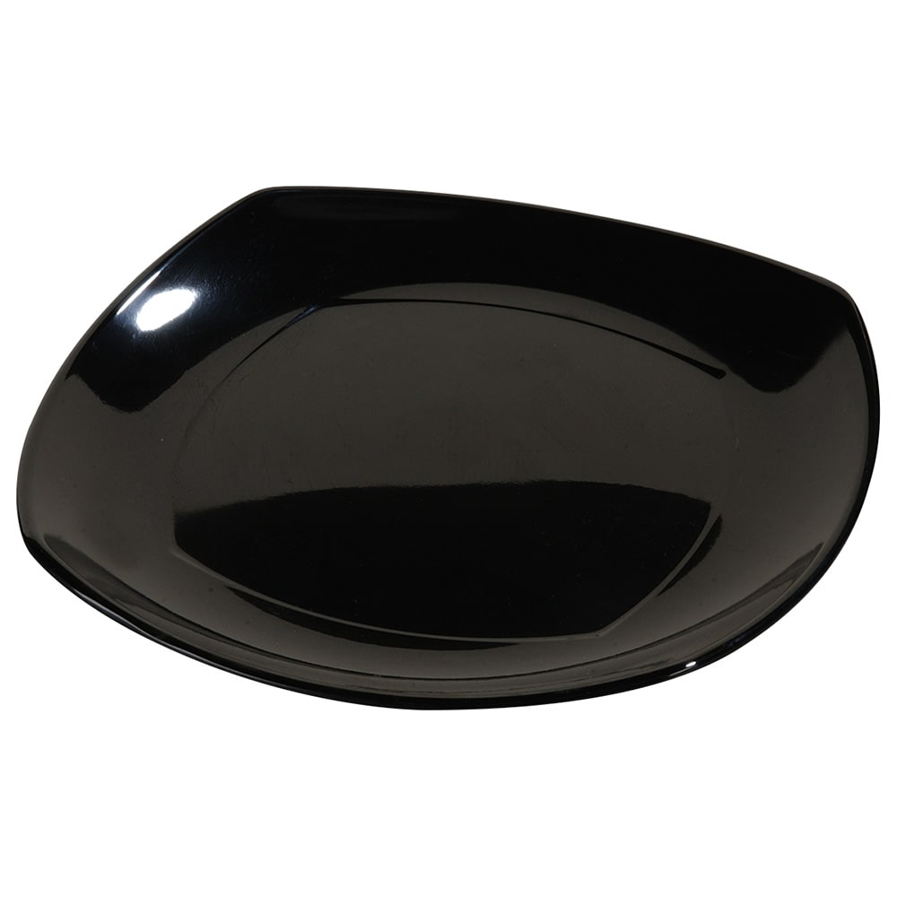"Carlisle 4330803 8"" Square Dinner Plate w/ Rolled Edge, Melamine, Black"