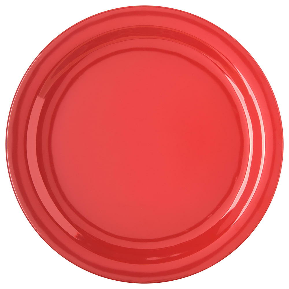 "Carlisle 4350005 10.25"" Round Dinner Plate w/ Reinforced Rim, Melamine, Red"