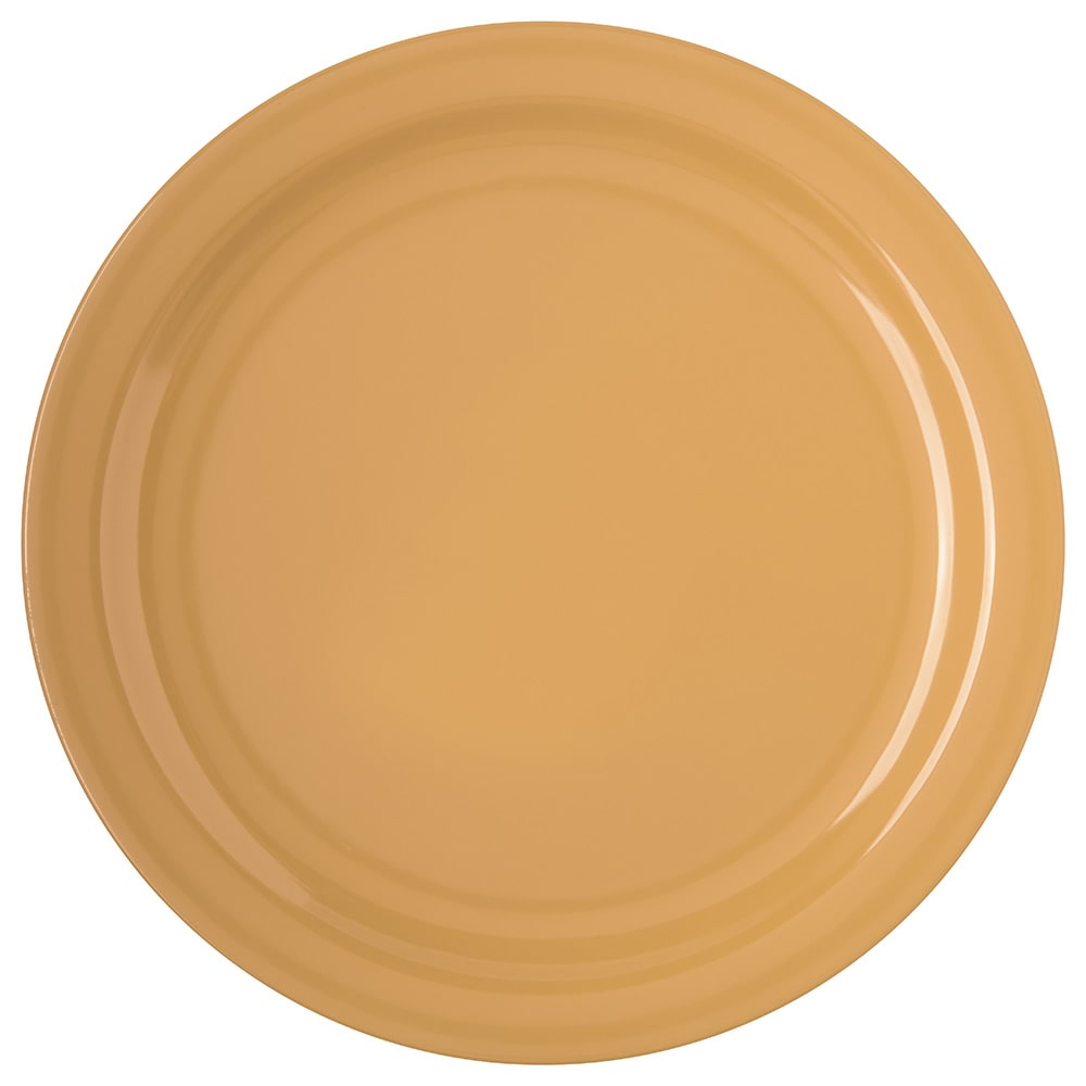 "Carlisle 4350022 10.25"" Round Dinner Plate w/ Reinforced Rim, Melamine, Honey Yellow"