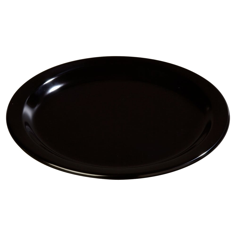 "Carlisle 4350103 9"" Round Dinner Plate w/ Reinforced Rim, Melamine, Black"
