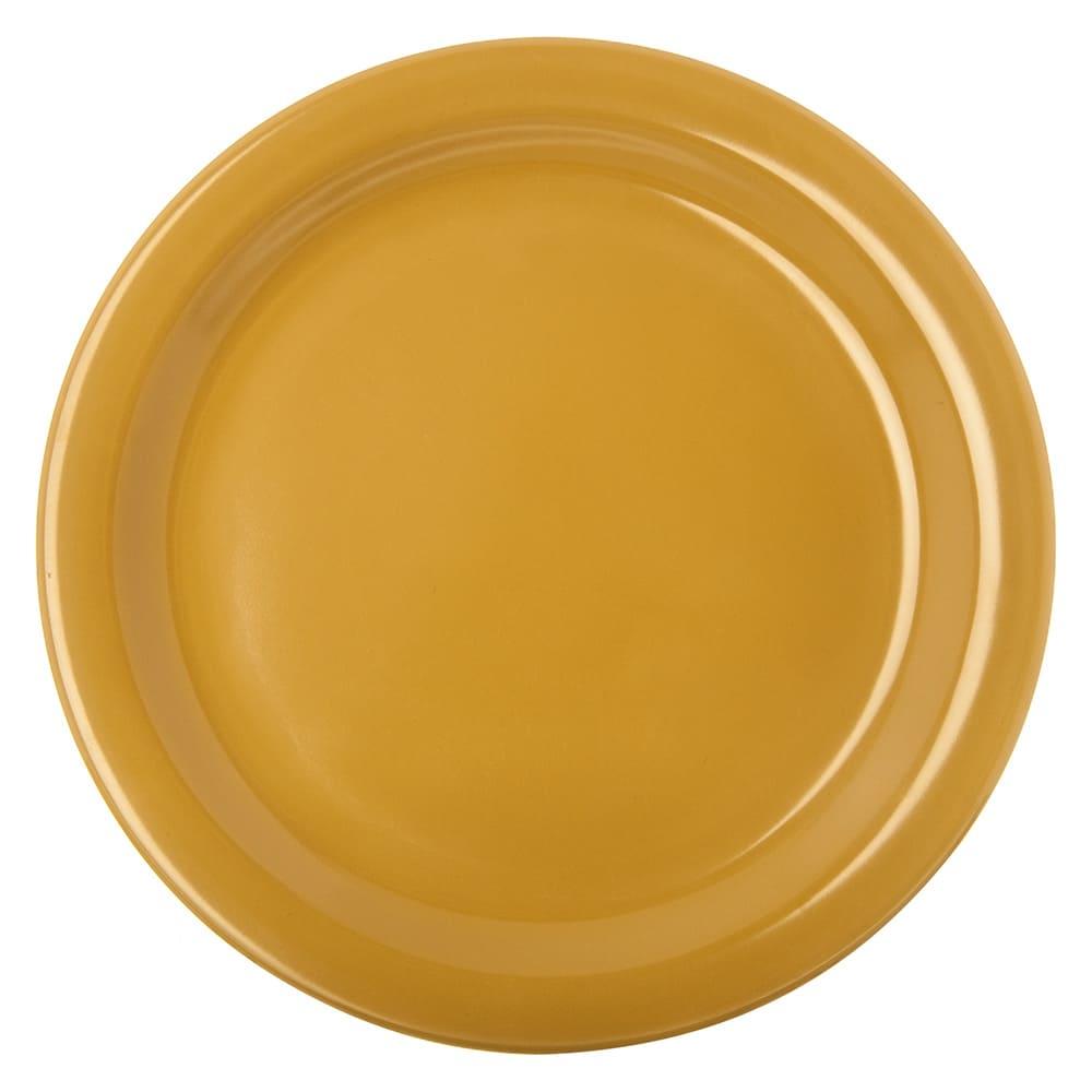 "Carlisle 4350122 9"" Round Dinner Plate w/ Reinforced Rim, Melamine, Honey Yellow"