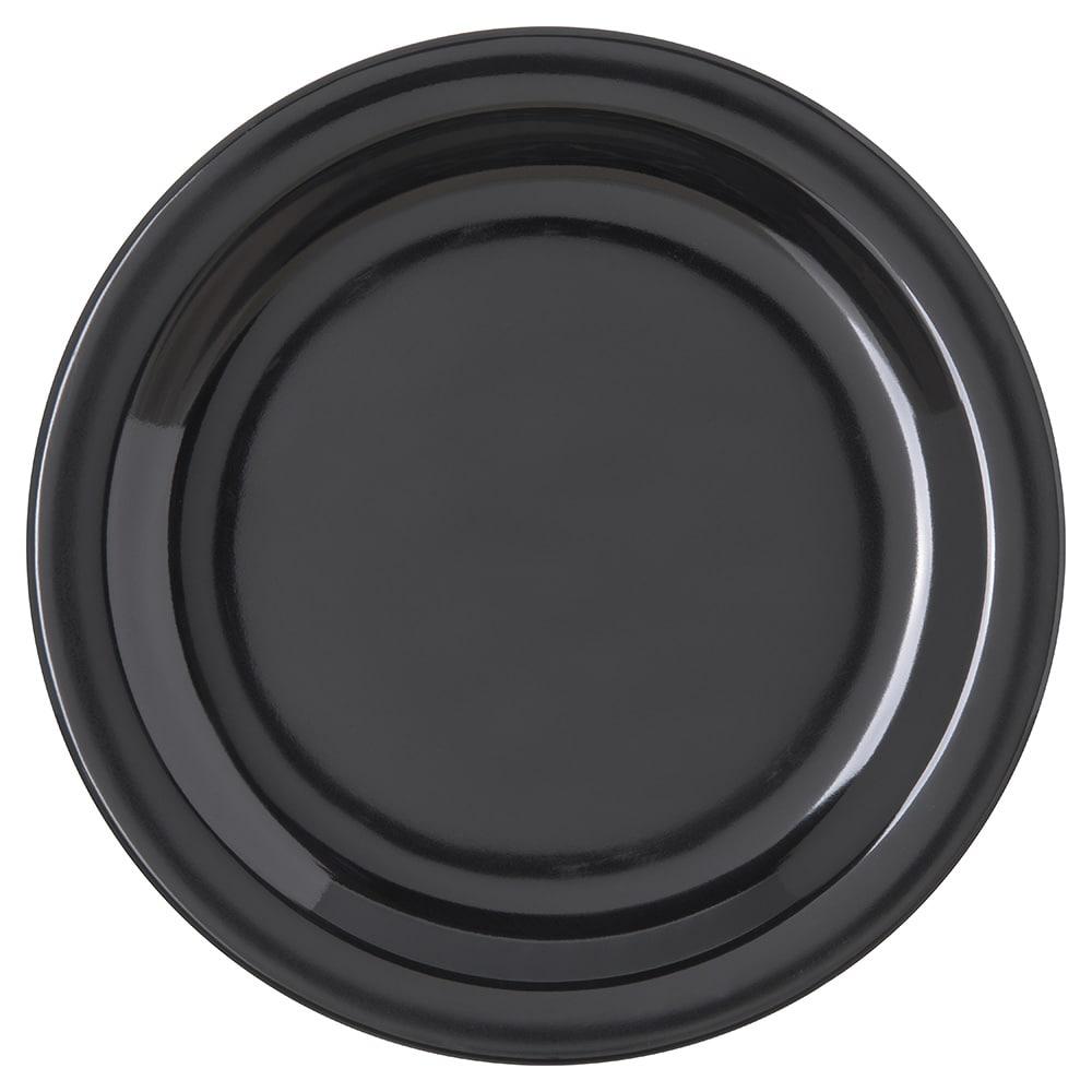 "Carlisle 4350303 7.25"" Round Salad Plate w/ Reinforced Rim, Melamine, Black"