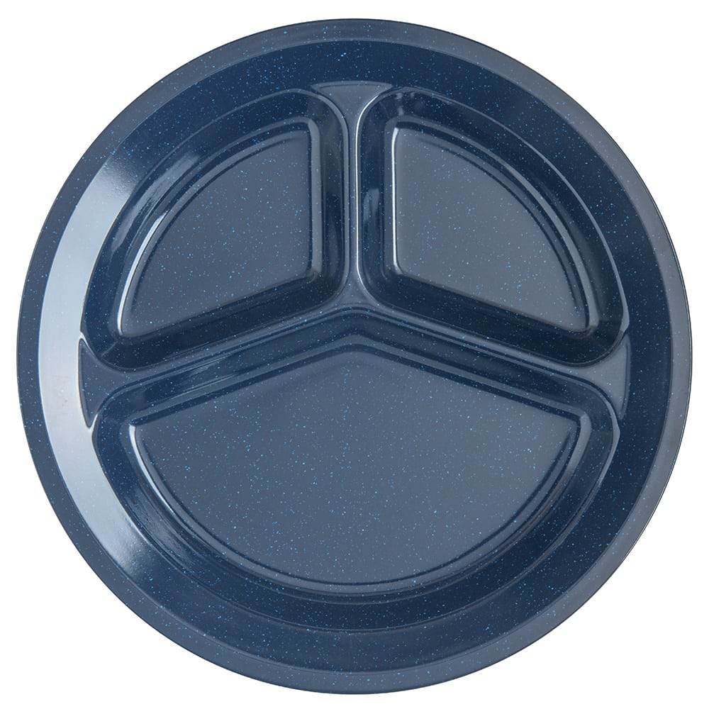 "Carlisle 4351235 11"" Round Compartment Plate w/ Reinforced Rim, Melamine, Cafe Blue"