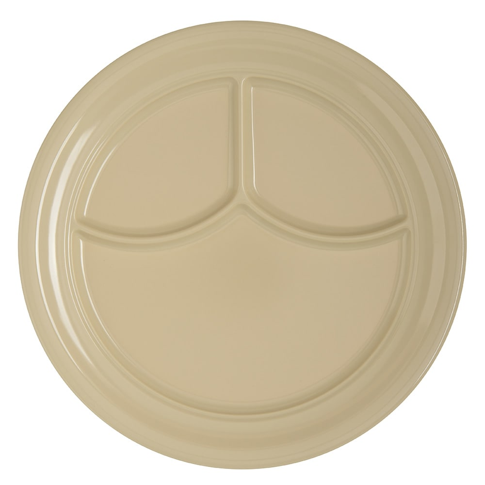 "Carlisle 4351425 9.75"" Round Compartment Plate w/ Reinforced Rim, Melamine, Tan"