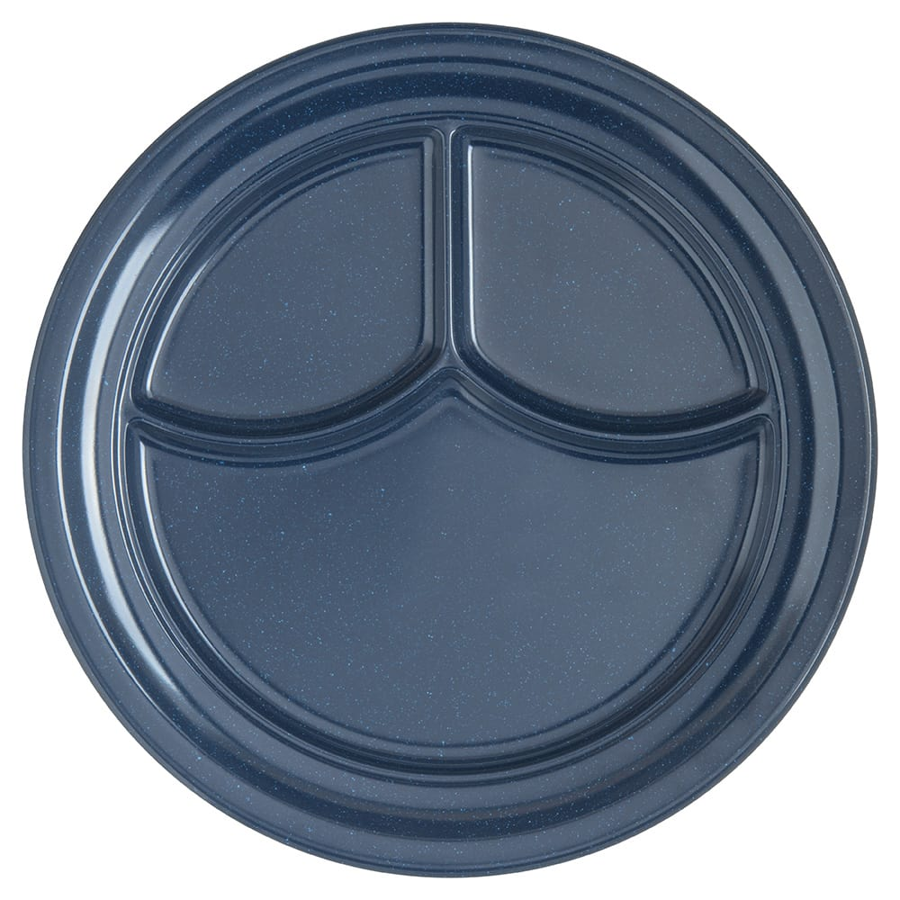 "Carlisle 4351435 9.75"" Round Compartment Plate w/ Reinforced Rim, Melamine, Cafe Blue"