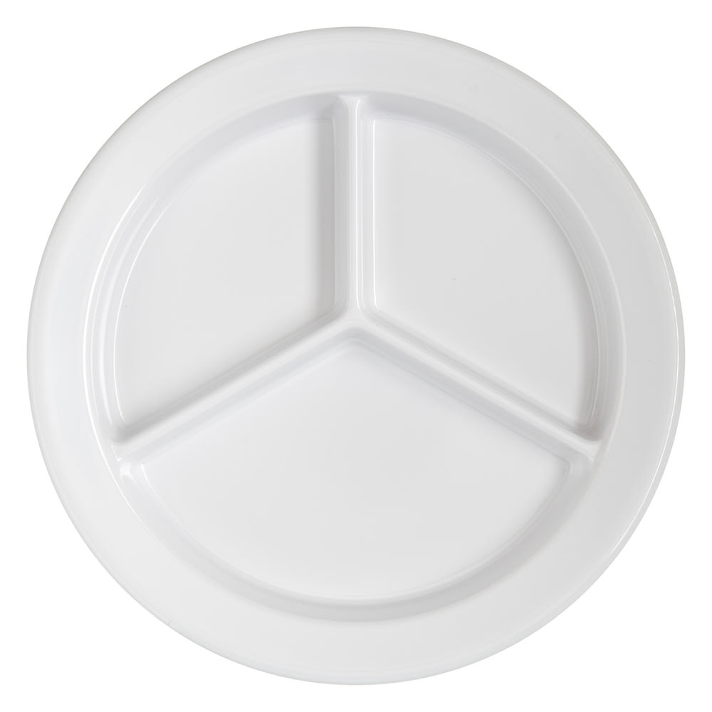 "Carlisle 4351602 9"" Round Compartment Plate w/ Reinforced Rim, Melamine, White"