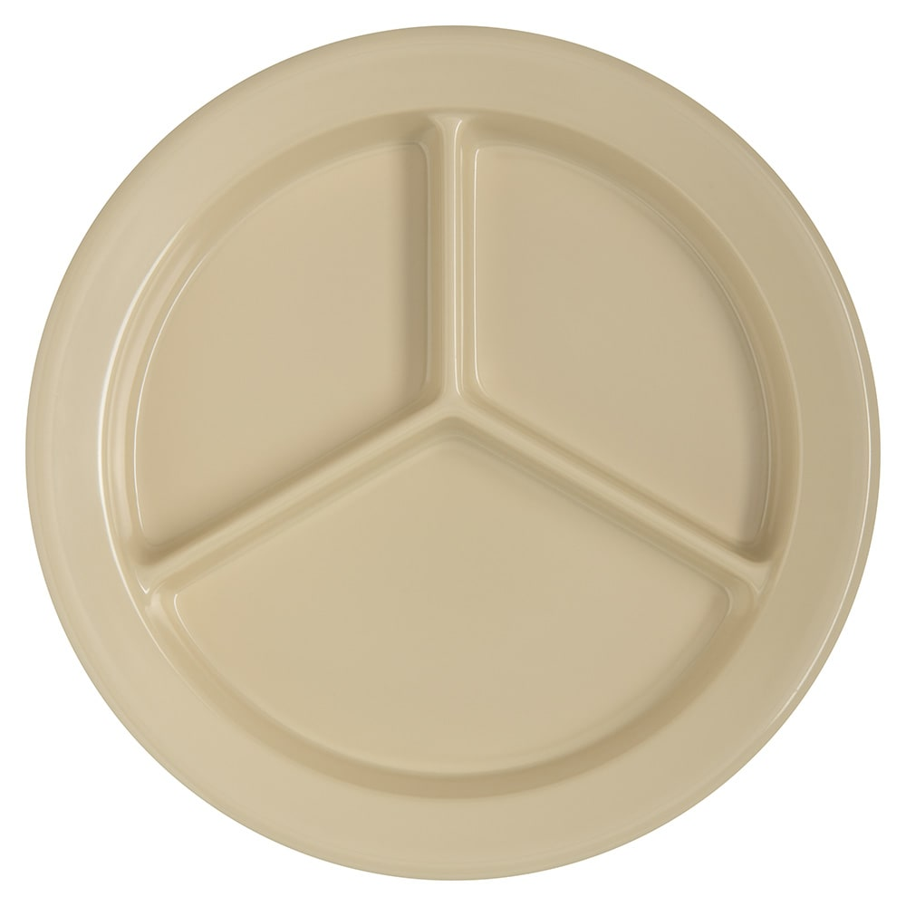 "Carlisle 4351625 9"" Round Compartment Plate w/ Reinforced Rim, Melamine, Tan"