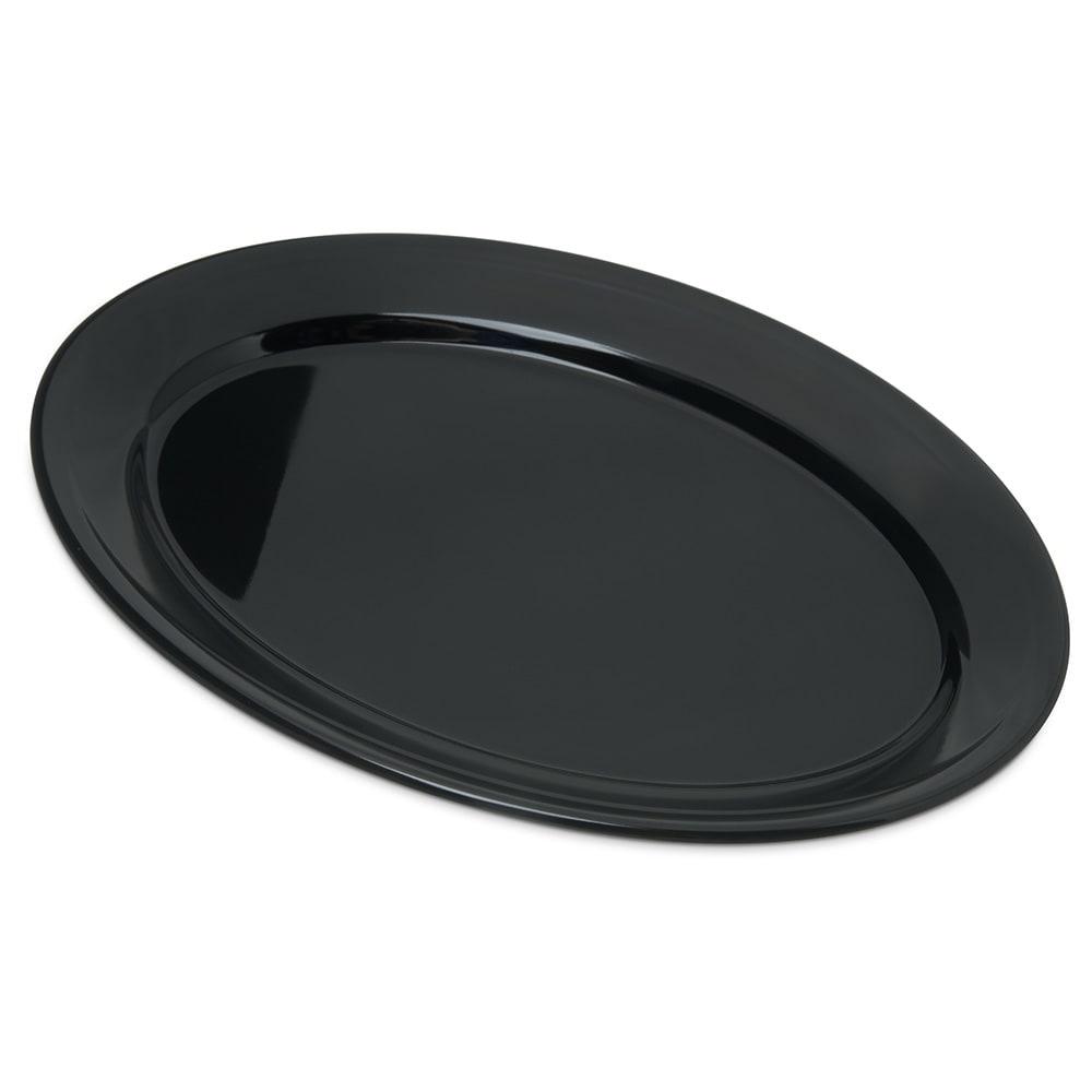 "Carlisle 4356003 Oval Platter w/ Reinforced Rim, 12"" x 8.5"", Melamine, Black"