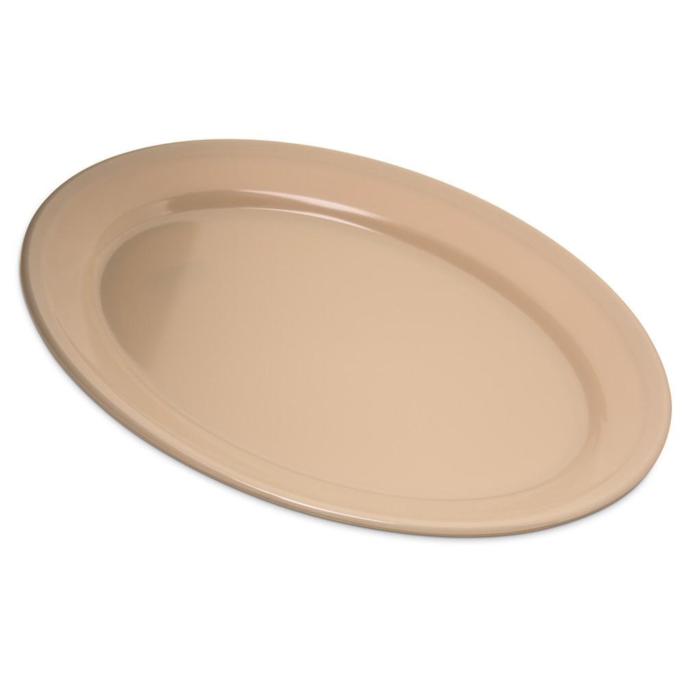 "Carlisle 4356025 Oval Platter w/ Reinforced Rim, 12"" x 8.5"", Melamine, Tan"