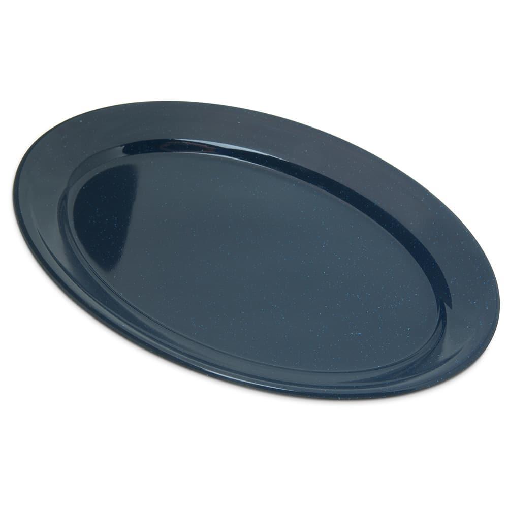 "Carlisle 4356035 Oval Platter w/ Reinforced Rim, 12"" x 8.5"", Melamine, Cafe Blue"