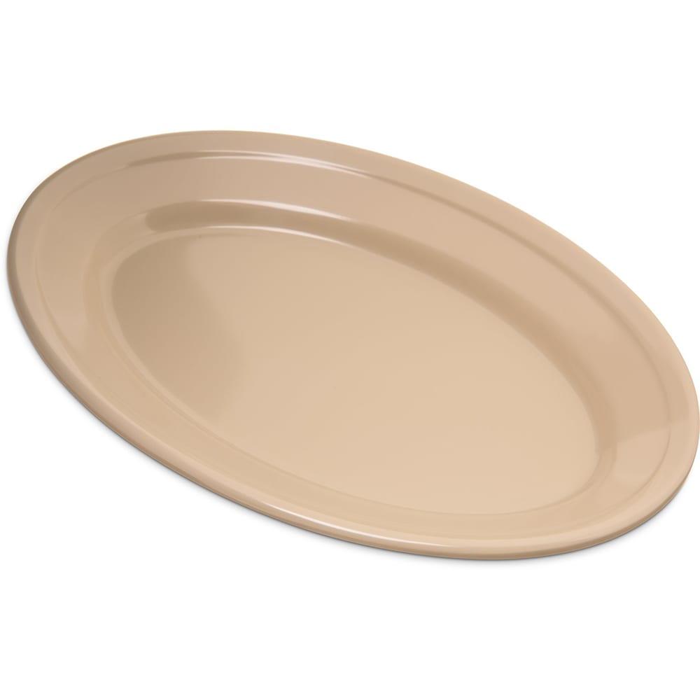 "Carlisle 43563-825 Dallas Ware Oval Platter - (12/Pk) 9-1/4x6-1/4"" Melamine, Tan"