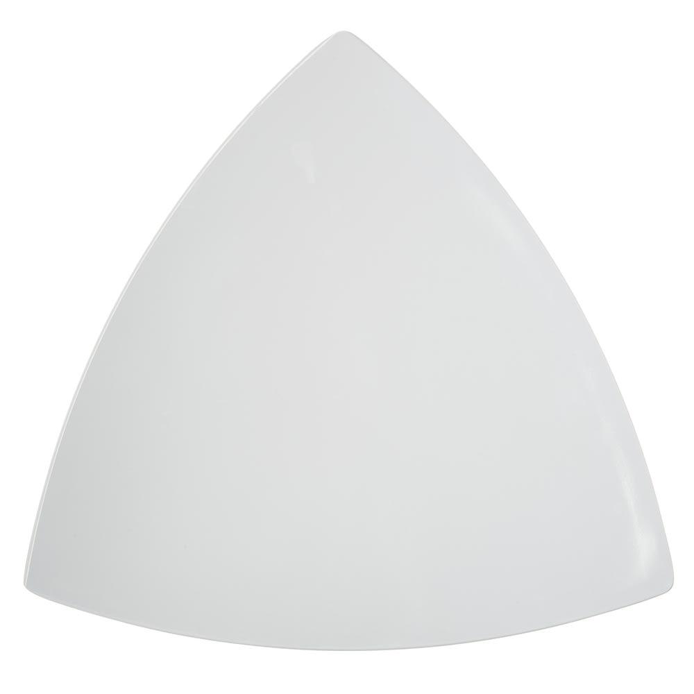"Carlisle 4380602 11"" Triangular Coupe Plate, Melamine, White"