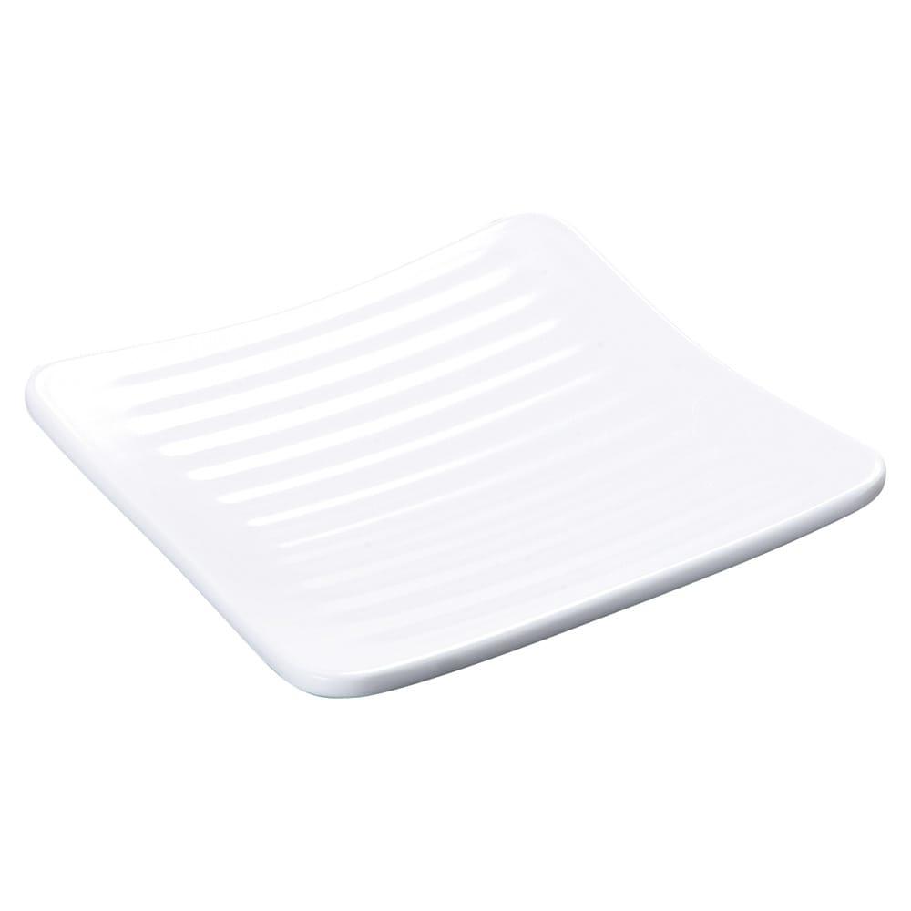 "Carlisle 4382202 6.25"" Square Plate w/ Rolled Edge, Melamine, White"