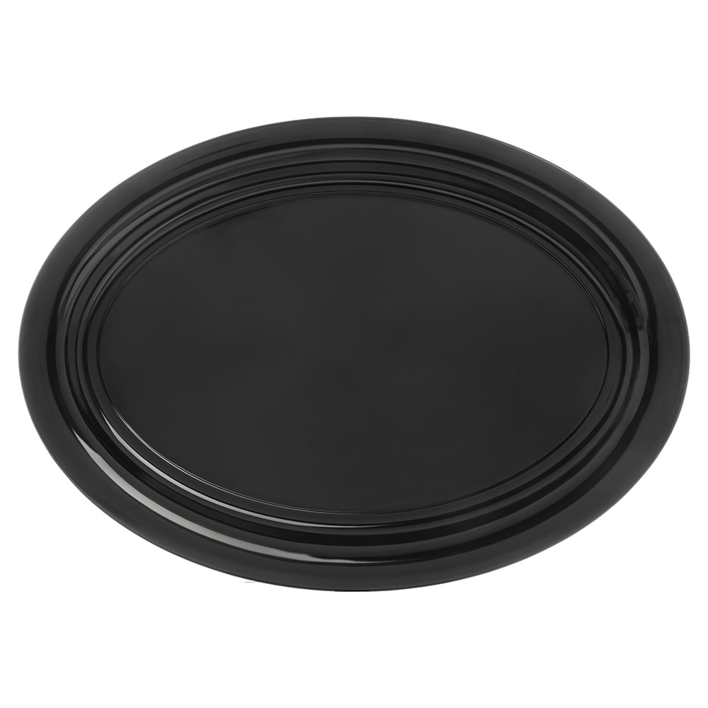 "Carlisle 4384003 Oval Catering Platter - 21"" x 15"", Melamine, Black"