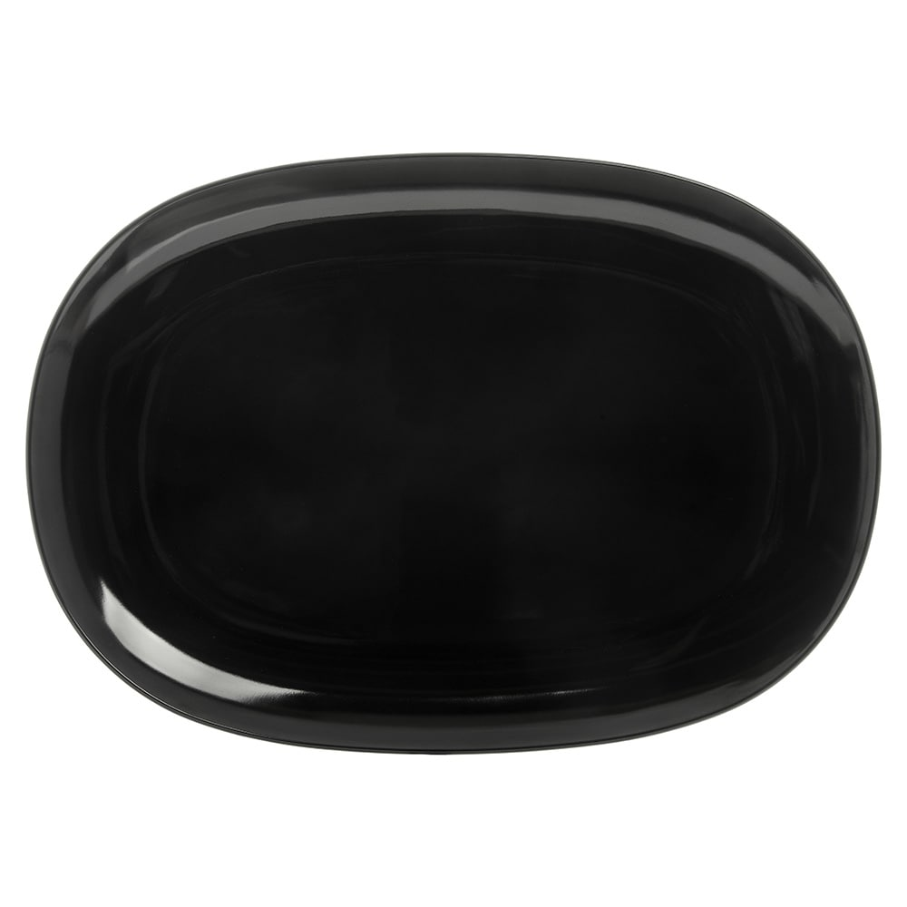 "Carlisle 4384203 Oblong Coupe Platter - 14"" x 10"",  Melamine, Black"