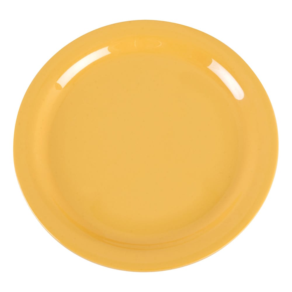 "Carlisle 4385222 9"" Round Dinner Plate, Melamine, Honey Yellow"