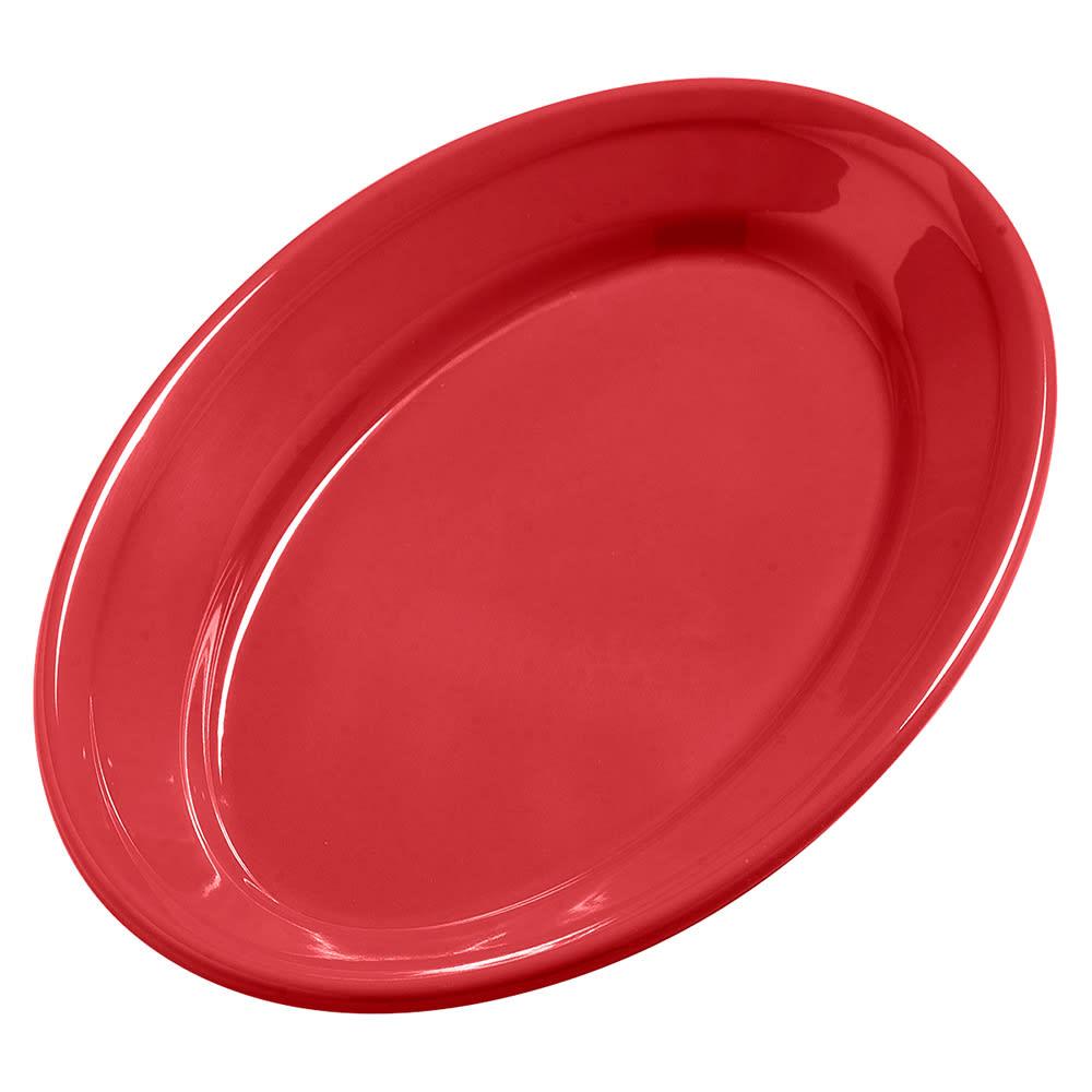 "Carlisle 4387205 Oval Platter - 9.25"" x 6.25"", Melamine, Red"