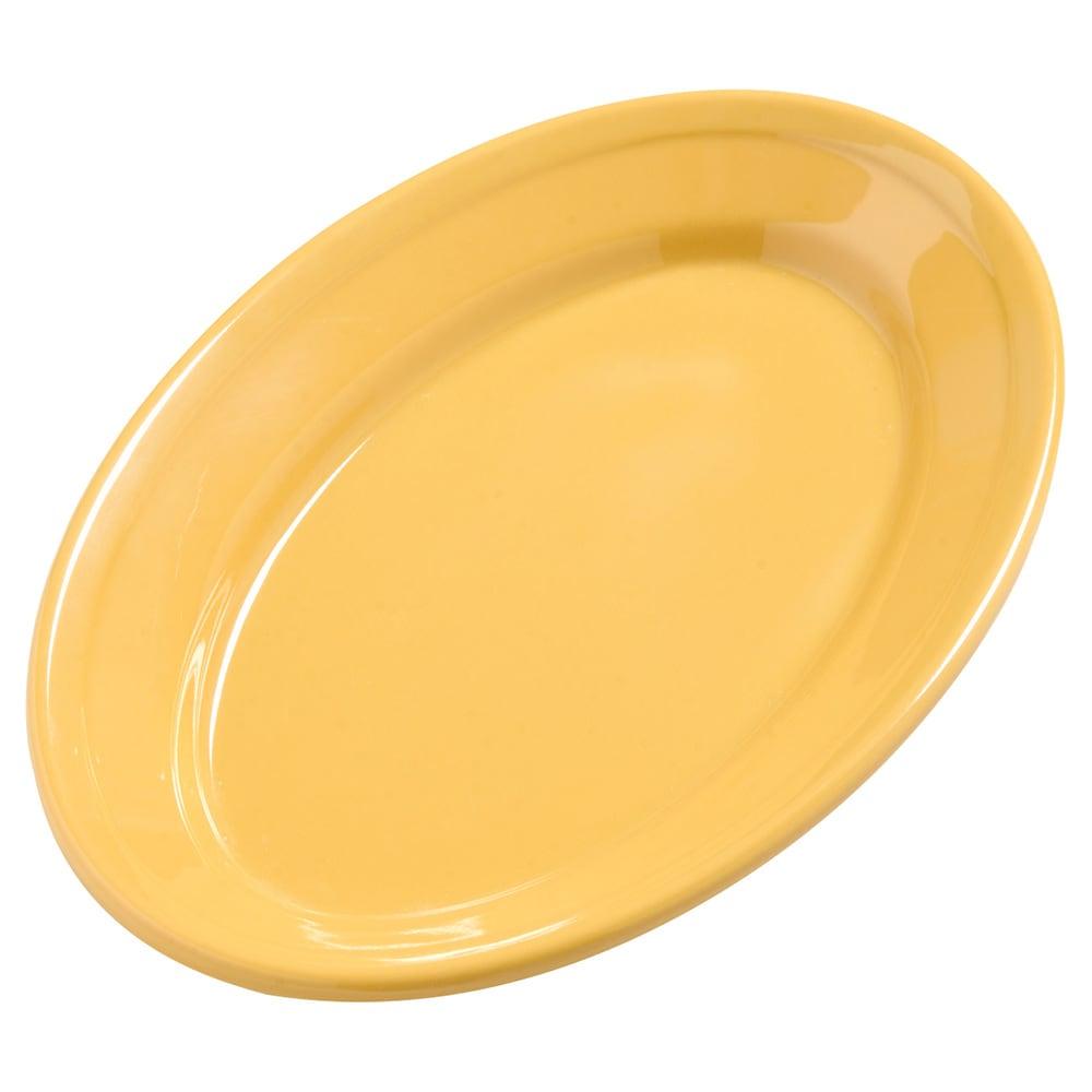 "Carlisle 4387222 Oval Platter - 9.25"" x 6.25"", Melamine, Honey Yellow"