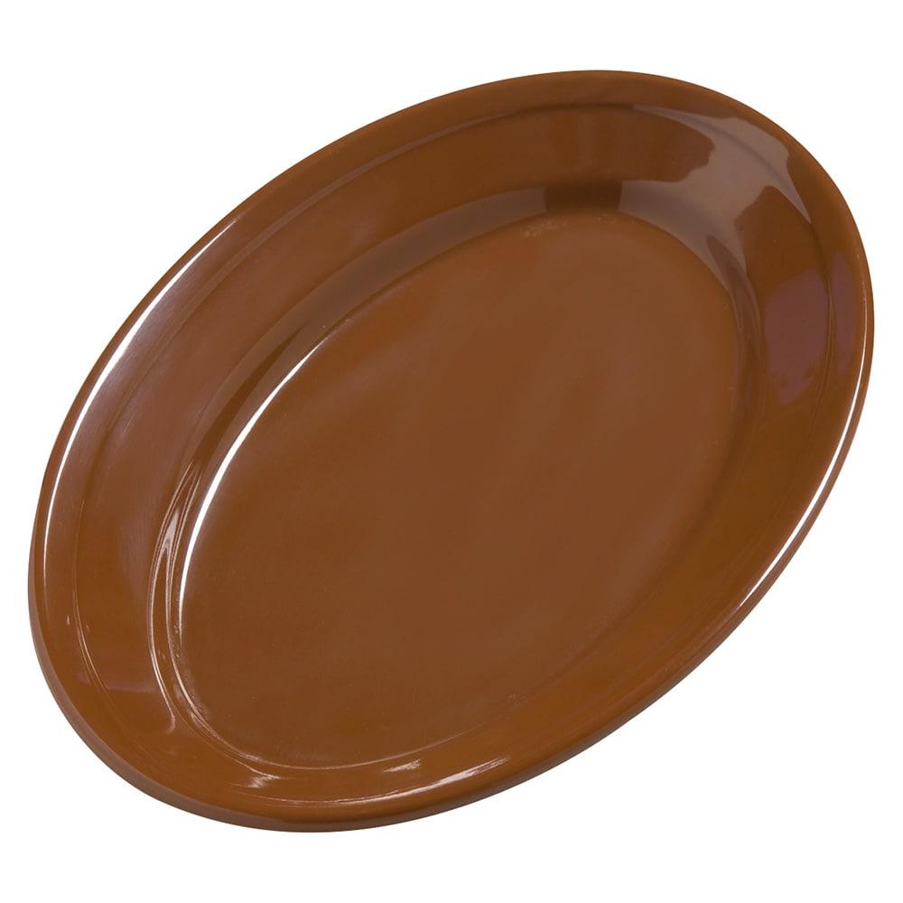 """Carlisle 4387243 Oval Platter - 9.25"""" x 6.25"""", Melamine, Toffee"""