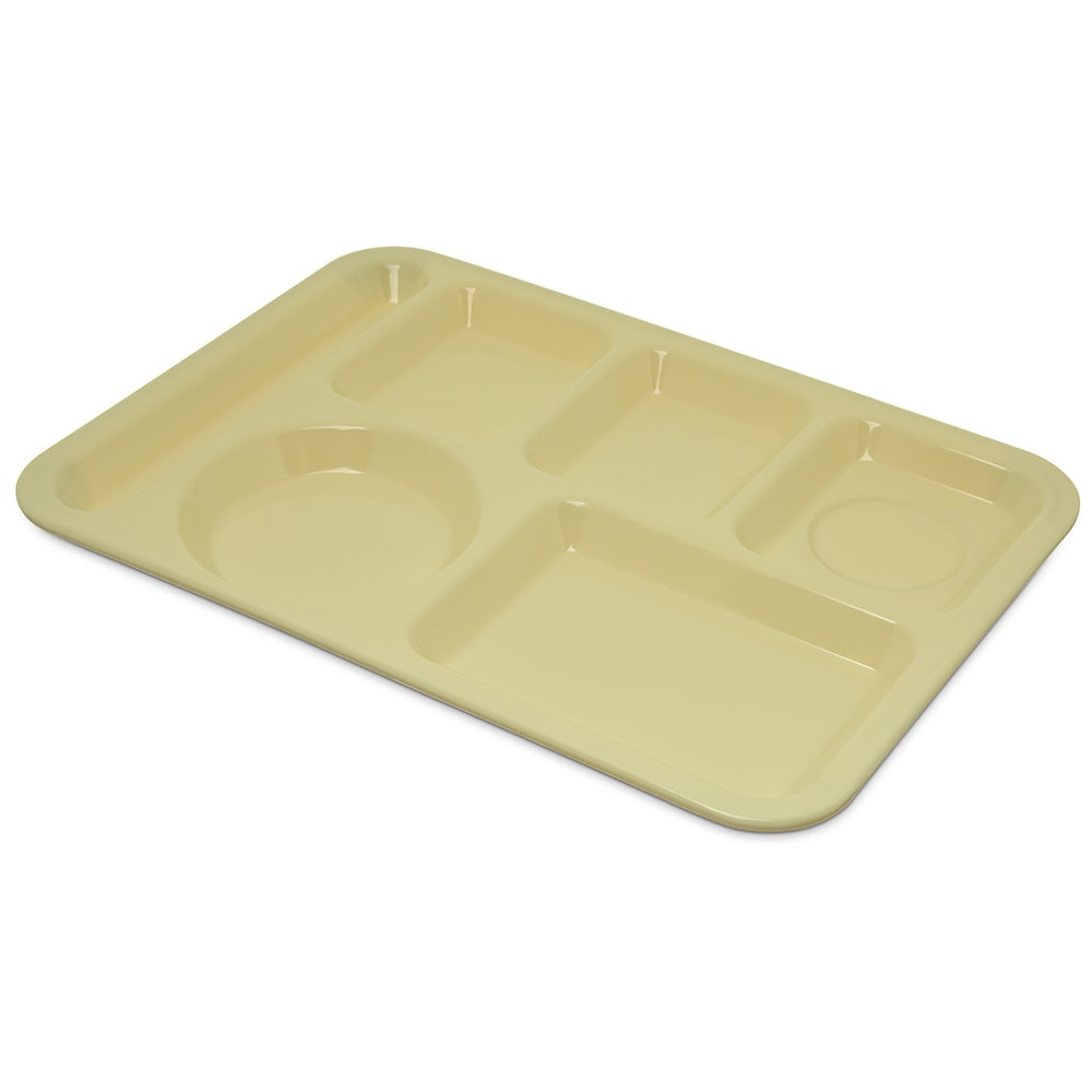 "Carlisle 4398004 Rectangular Tray w/ (6) Compartments, 14"" x 10"", Melamine, Yellow"