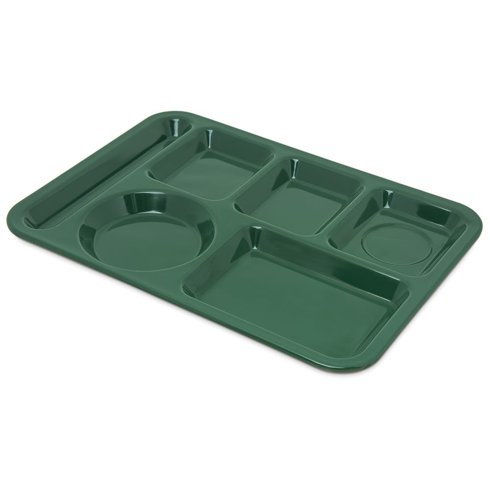 "Carlisle 4398008 Rectangular Tray w/ (6) Compartments, 14"" x 10"", Melamine, Forest Green"