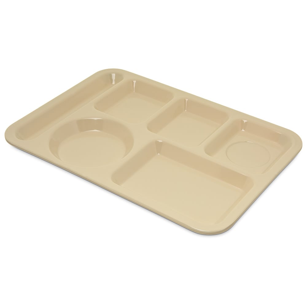 "Carlisle 4398025 Rectangular Tray w/ (6) Compartments, 14"" x 10"", Melamine, Tan"
