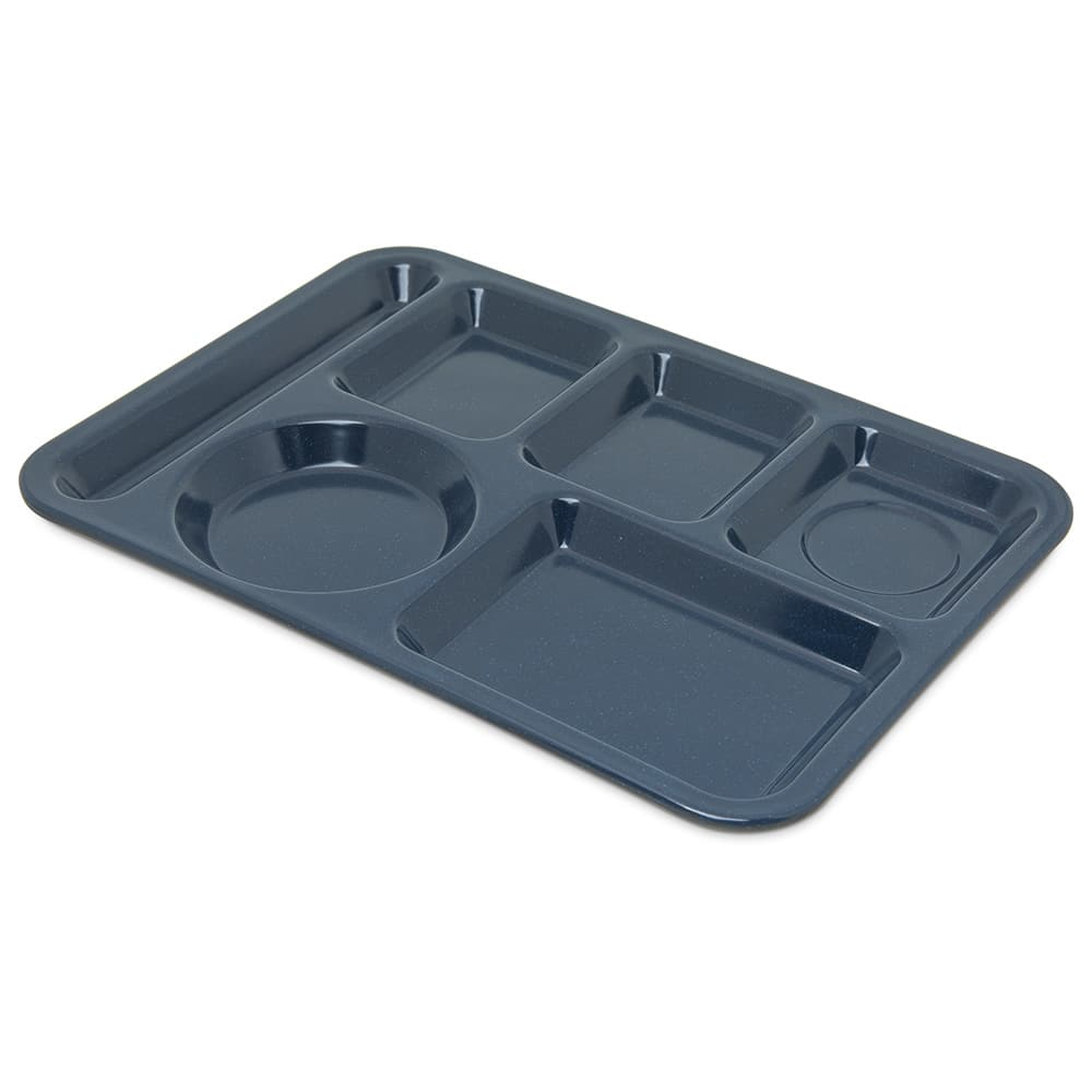 "Carlisle 4398035 Rectangular Tray w/ (6) Compartments, 14"" x 10"", Melamine, Cafe Blue"