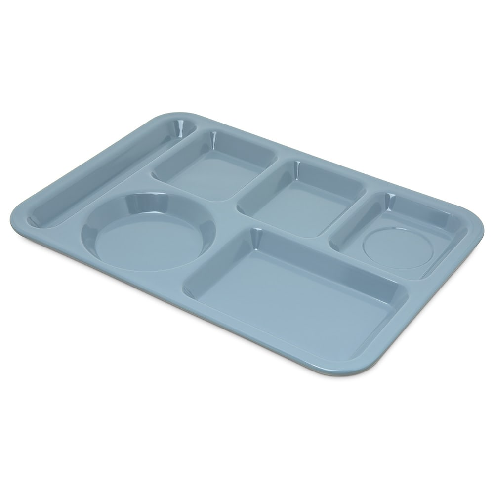 "Carlisle 4398059 Rectangular Tray w/ (6) Compartments, 14"" x 10"", Melamine, Slate Blue"