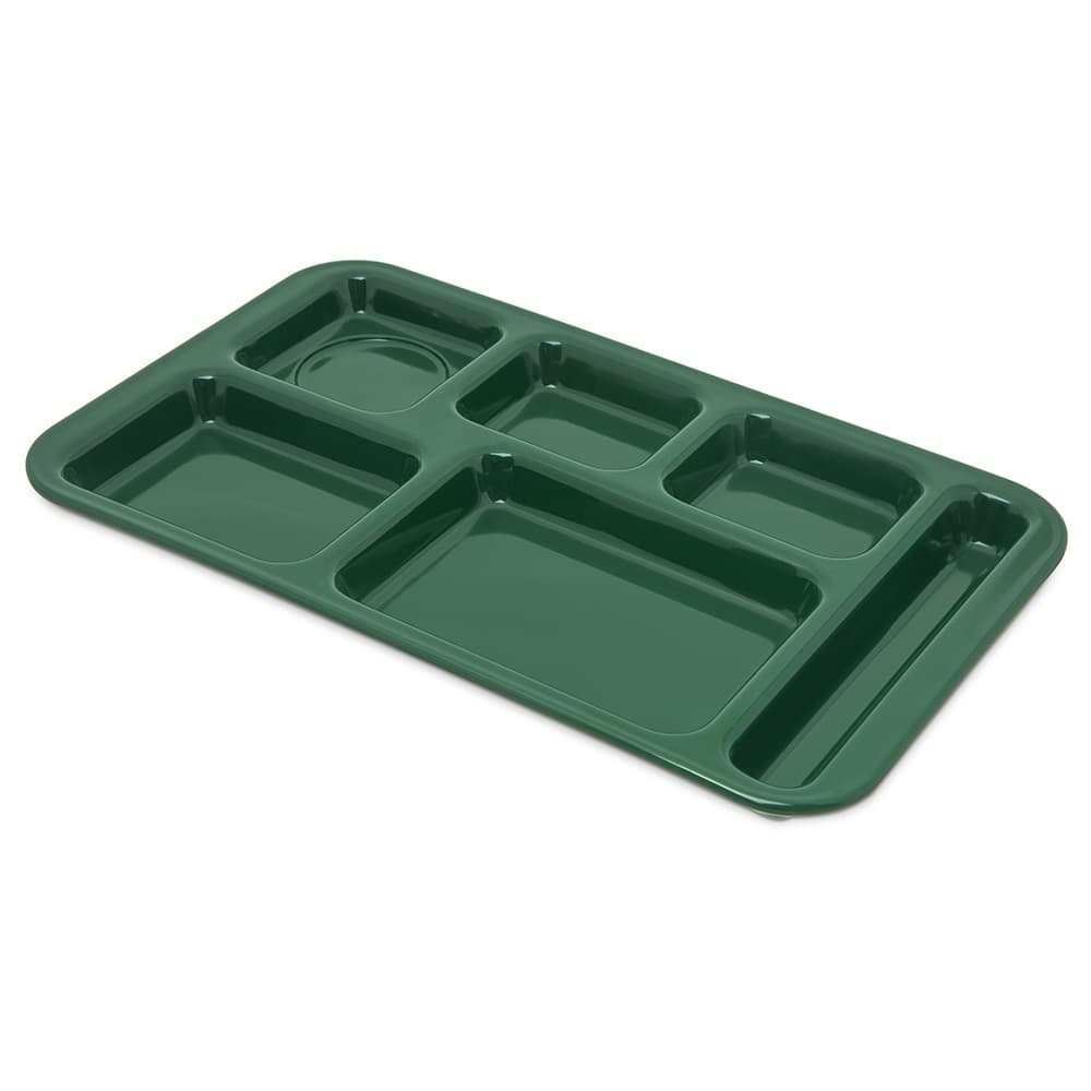 "Carlisle 4398208 Rectangular Tray w/ (6) Compartments, 15"" x 9"", Melamine, Forest Green"