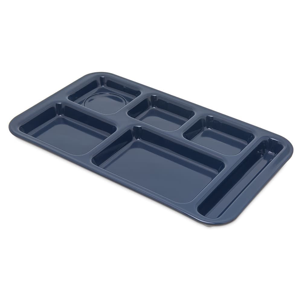 "Carlisle 4398250 Rectangular Tray w/ (6) Compartments, 15"" x 9"", Melamine, Dark Blue"