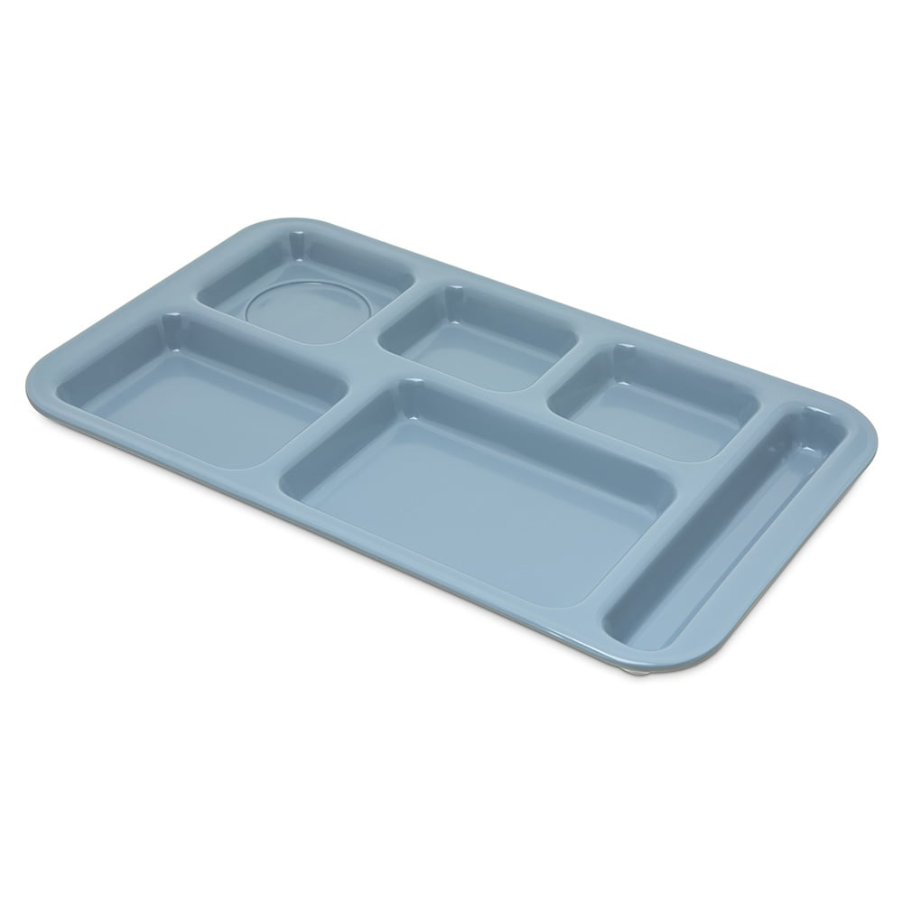 "Carlisle 4398259 Rectangular Tray w/ (6) Compartments, 15"" x 9"", Melamine, Slate Blue"