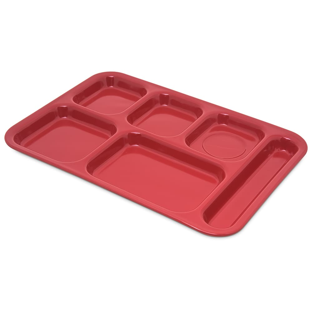 "Carlisle 4398805 Rectangular Tray w/ (6) Compartments, 14.5"" x 10"", Melamine, Red"