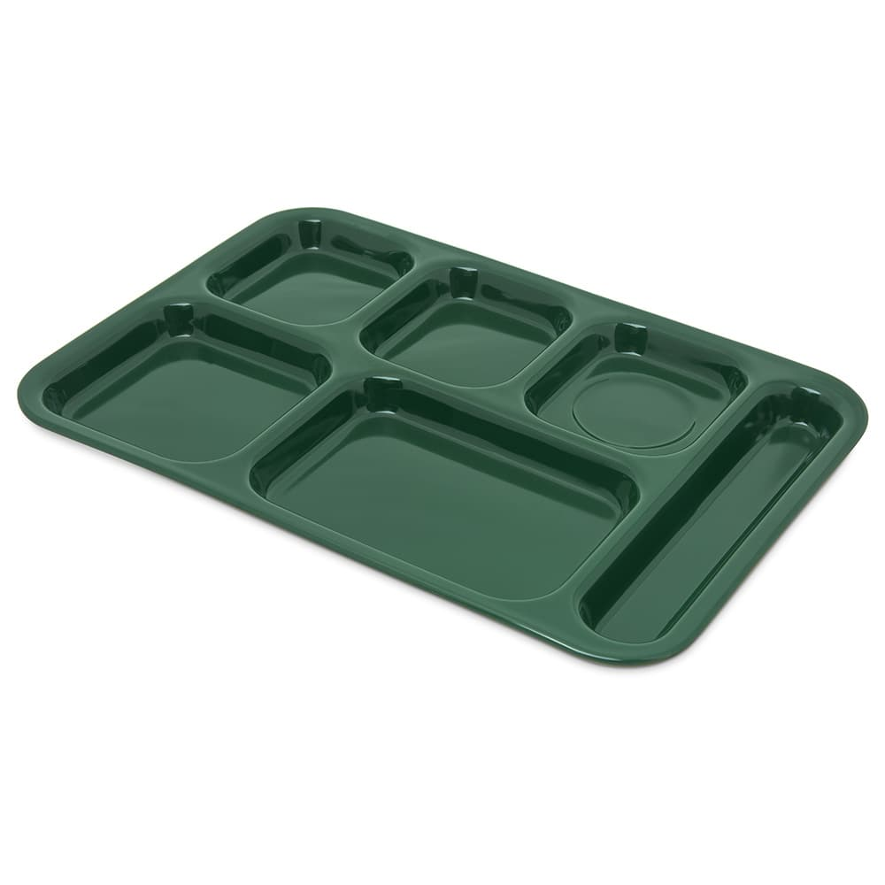"Carlisle 4398808 Rectangular Tray w/ (6) Compartments, 14.5"" x 10"", Melamine, Forest Green"