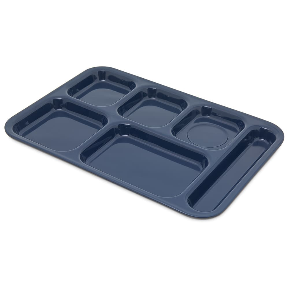 "Carlisle 4398850 Rectangular Tray w/ (6) Compartments, 14.5"" x 10"", Melamine, Dark Blue"