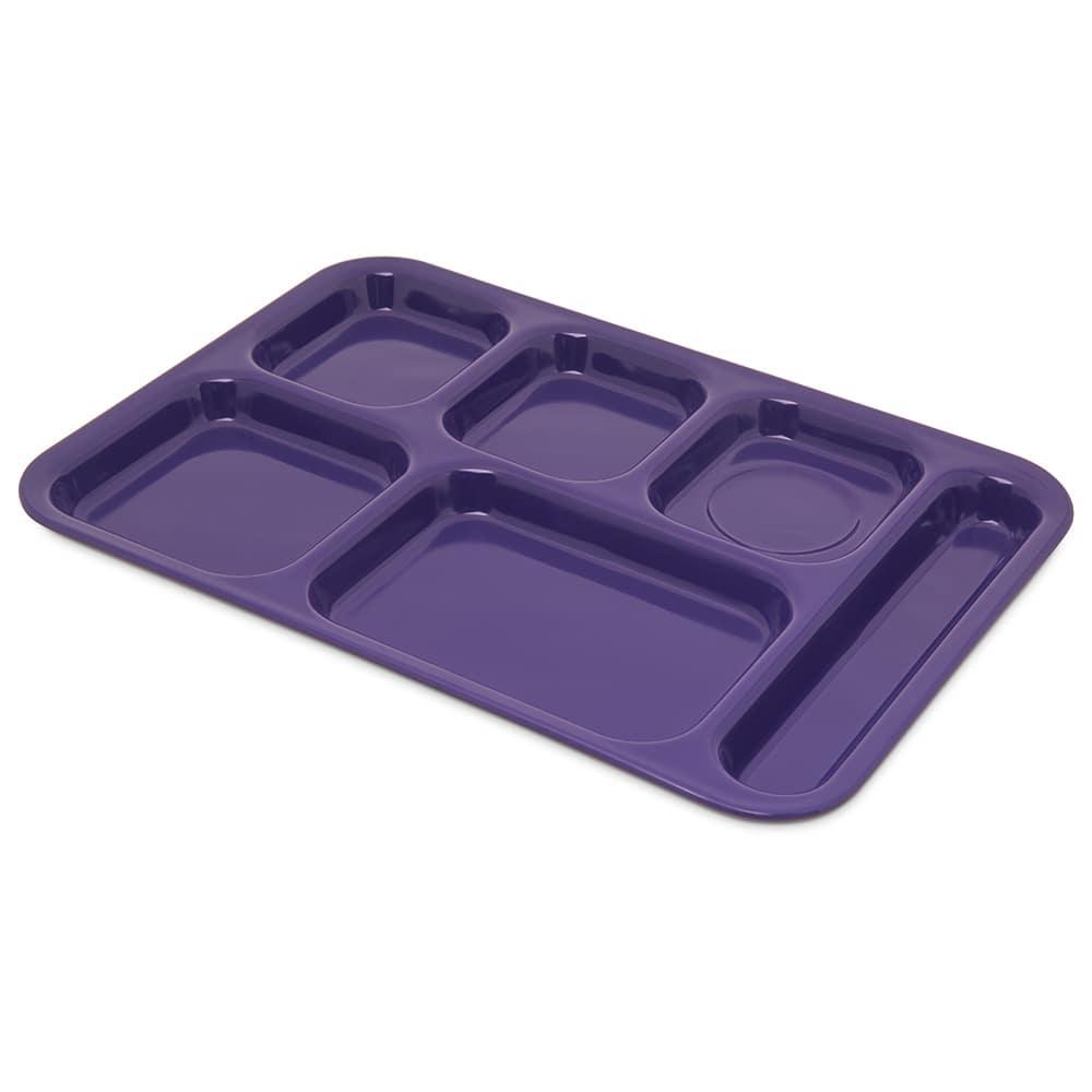 "Carlisle 4398887 Rectangular Tray w/ (6) Compartments, 14.5"" x 10"", Melamine, Purple"