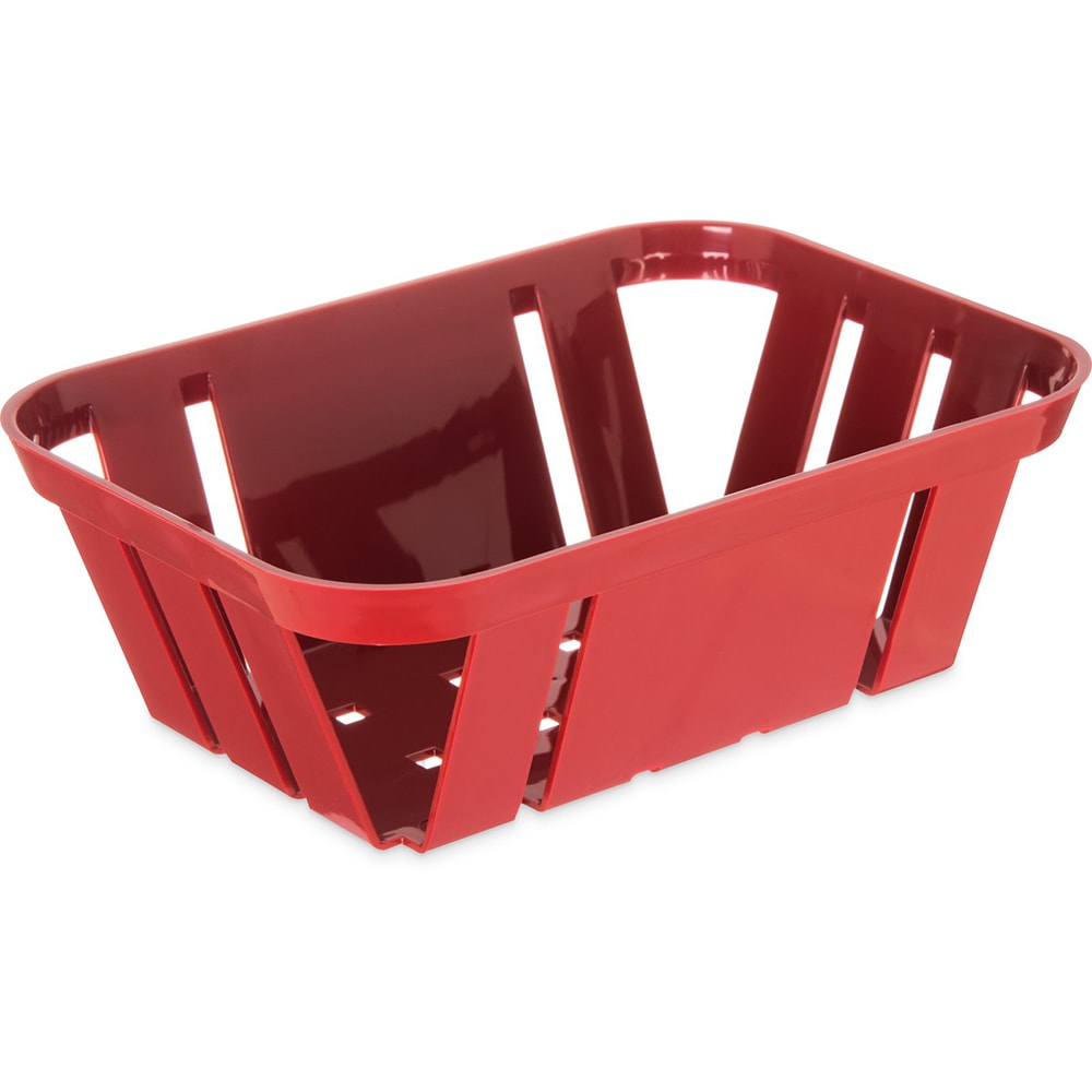 "Carlisle 4403005 Stackable Rectangular Basket - 7.375"" x 5.375"" x 2.5"", Plastic, Red"