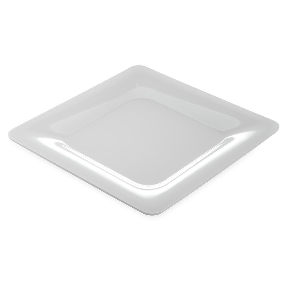"Carlisle 4440002 12"" Square Plate w/ Wide Rim, Melamine, White"