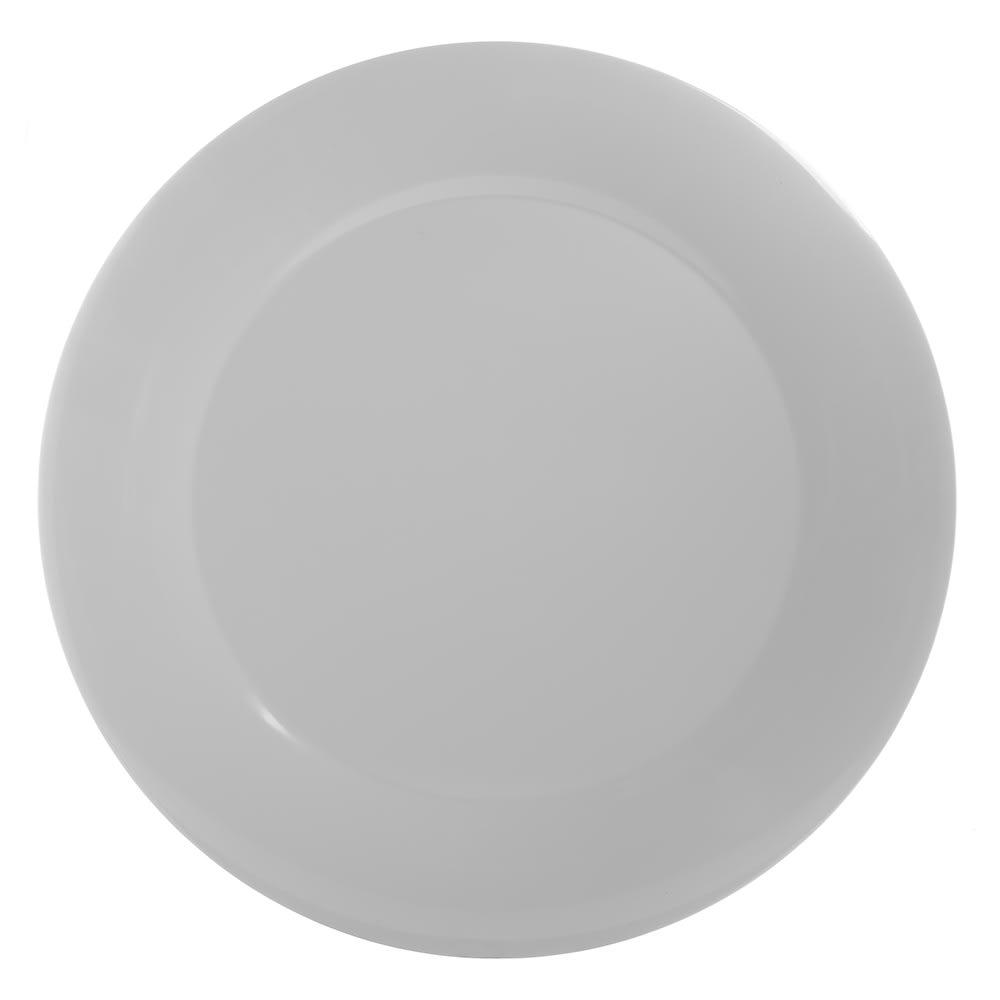"Carlisle 4440602 19"" Round Platter w/ Wide Rim, Melamine, White"