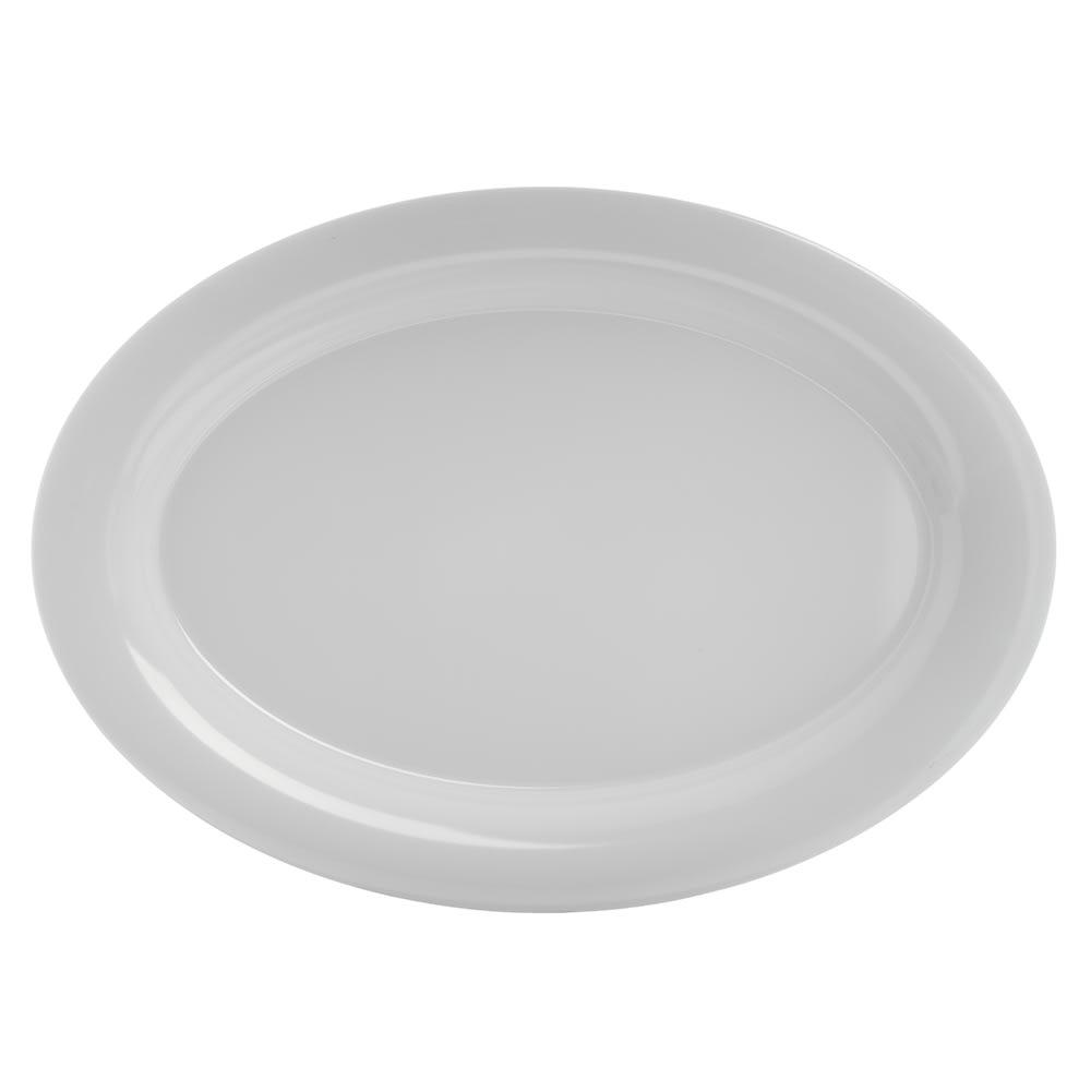 "Carlisle 4441202 Oval Platter w/ Wide Rim, 21"" x 15"", Melamine, White"
