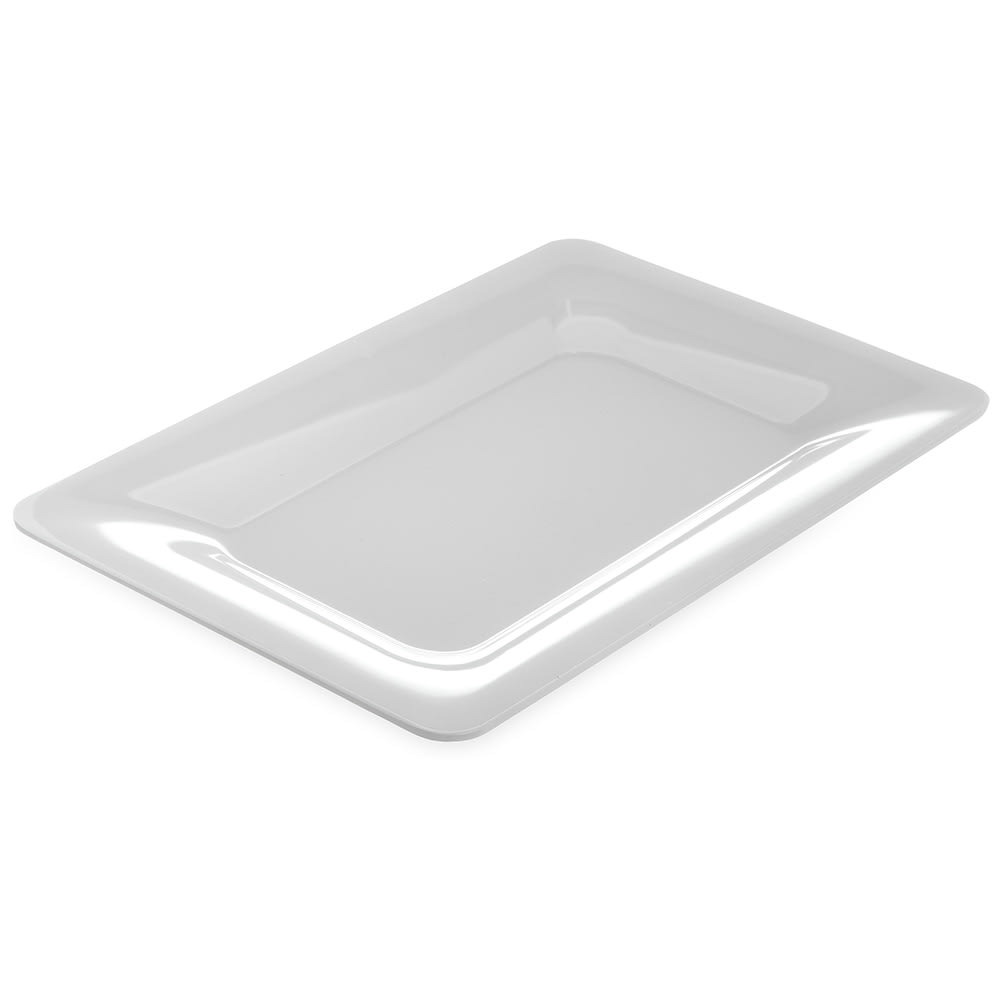 "Carlisle 4441402 Rectangular Platter w/ Wide Rim, 14"" x 10"", Melamine, White"