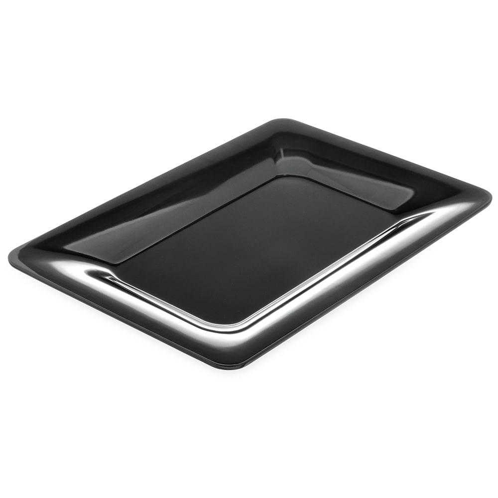 "Carlisle 4441403 Rectangular Platter w/ Wide Rim, 14"" x 10"", Melamine, Black"