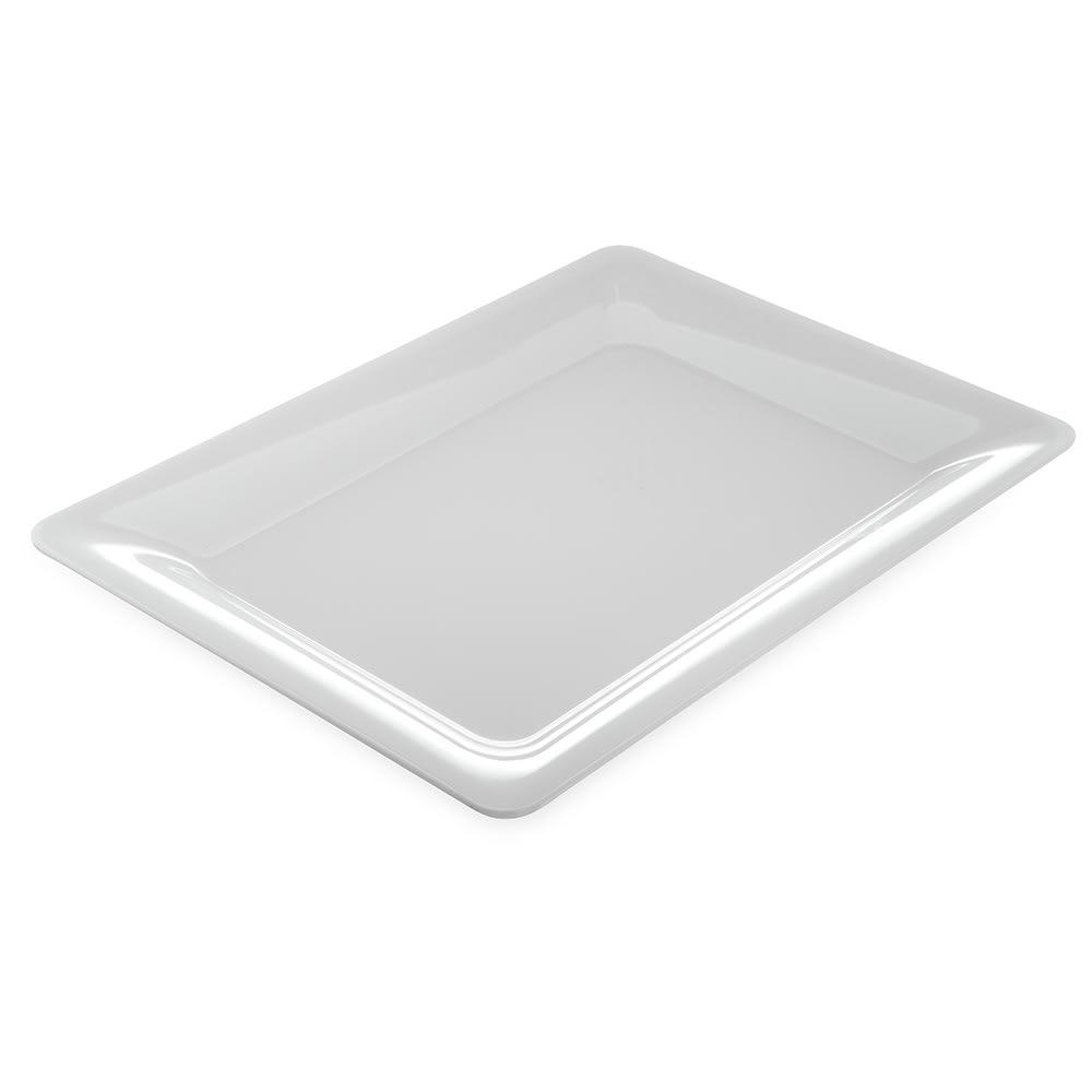 "Carlisle 4441602 Rectangular Platter w/ Wide Rim, 17"" x 13"", Melamine, White"