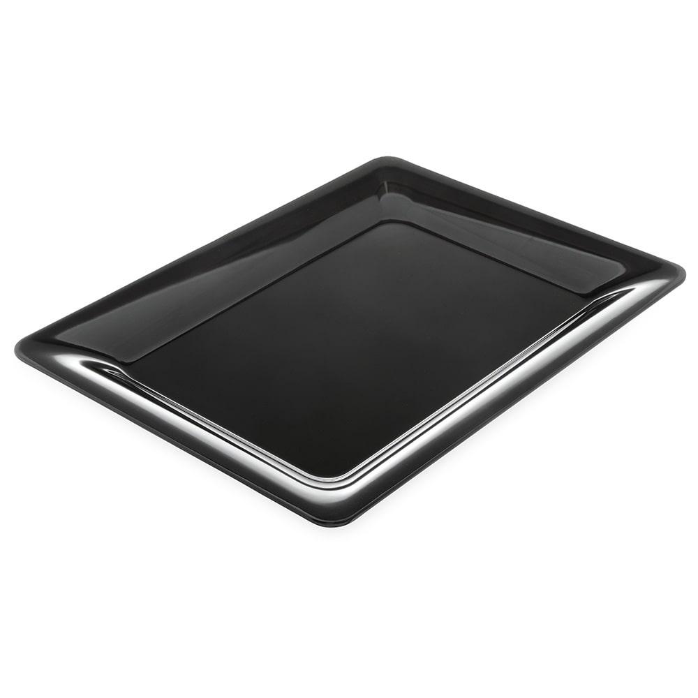 "Carlisle 4441603 Rectangular Platter w/ Wide Rim, 17"" x 13"", Melamine, Black"