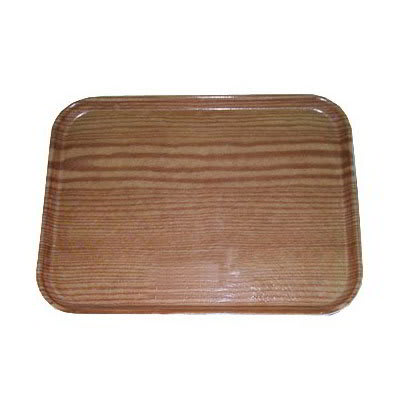 Carlisle 4532WFG094 Rectangular Cafeteria Tray - 450x320mm, Redwood Woodgrain