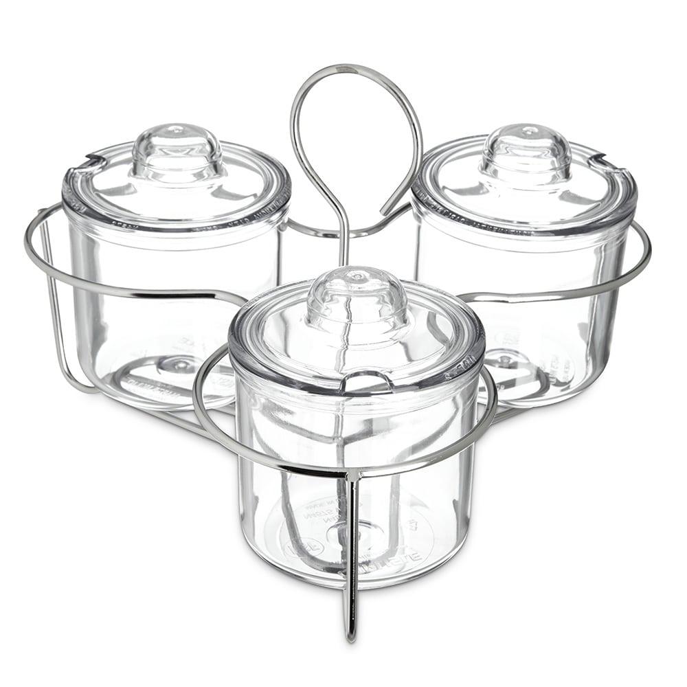 Carlisle 457307 Condiment Caddy Set w/ (3) 8-oz Jars & Lids
