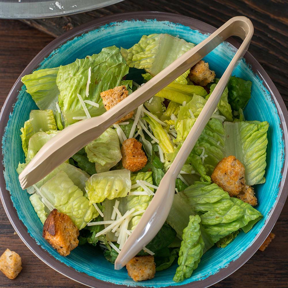 "Carlisle 460606 6""L Plastic Salad Tongs, Beige"