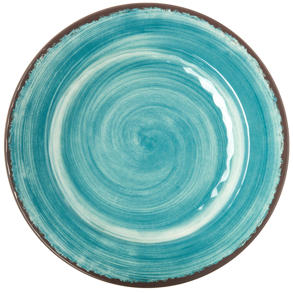 "Carlisle 5400115 11"" Round Dinner Plate - Melamine, Aqua"
