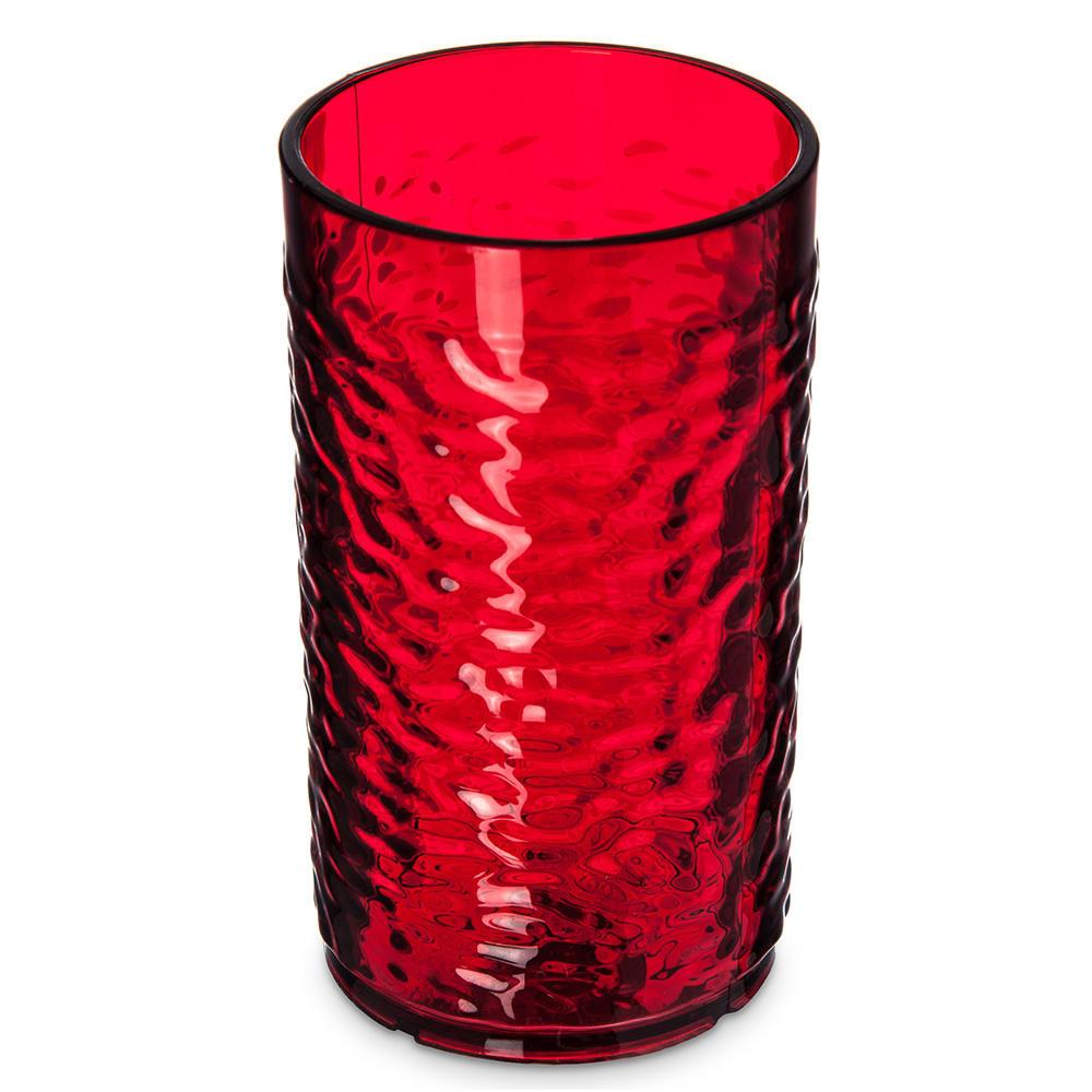 Carlisle 551210 12 oz Pebbled Tumbler - Plastic, Ruby