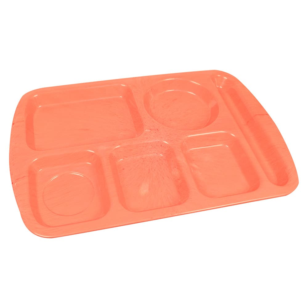 "Carlisle 586500 Rectangular Tray w/ (6) Compartments, 14.5"" x 10"", Melamine, Variegated"